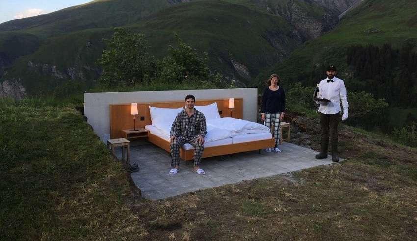 Null Stern. Швейцарский отель без стен с видом на Альпы предлагает остановиться на ночь